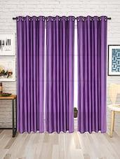 Set Of 3 Purple Nylon Eyelet Curtains - By