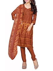 Yellow And Maroon Printed Unstitched Suit Set - By