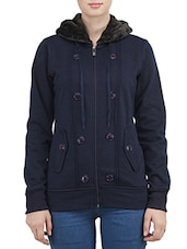 navy blue fleece hoodie jacket -  online shopping for jackets