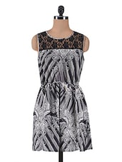 Grey And Offwhite Poly Georgette Printed Dress - By