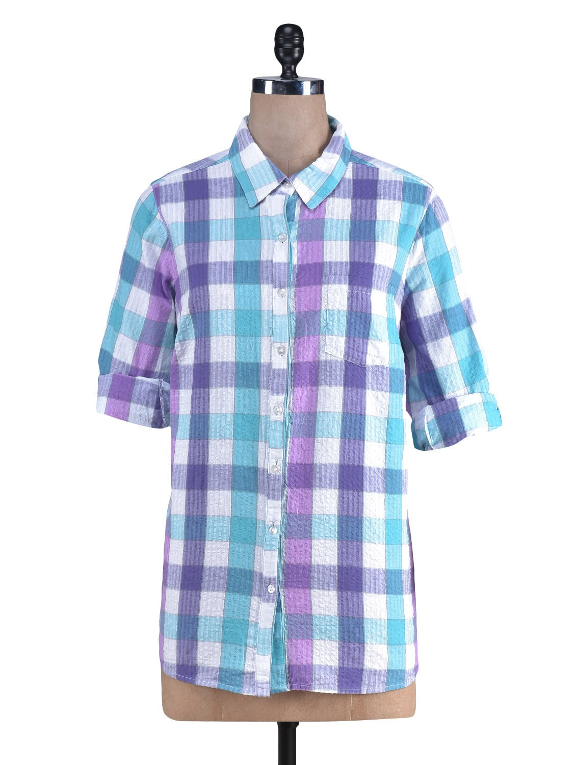 Multicolor Yarn Dyed Checks Printed Cotton Shirt - By