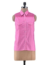 Pink Polka Dot Printed Cotton Shirt - By