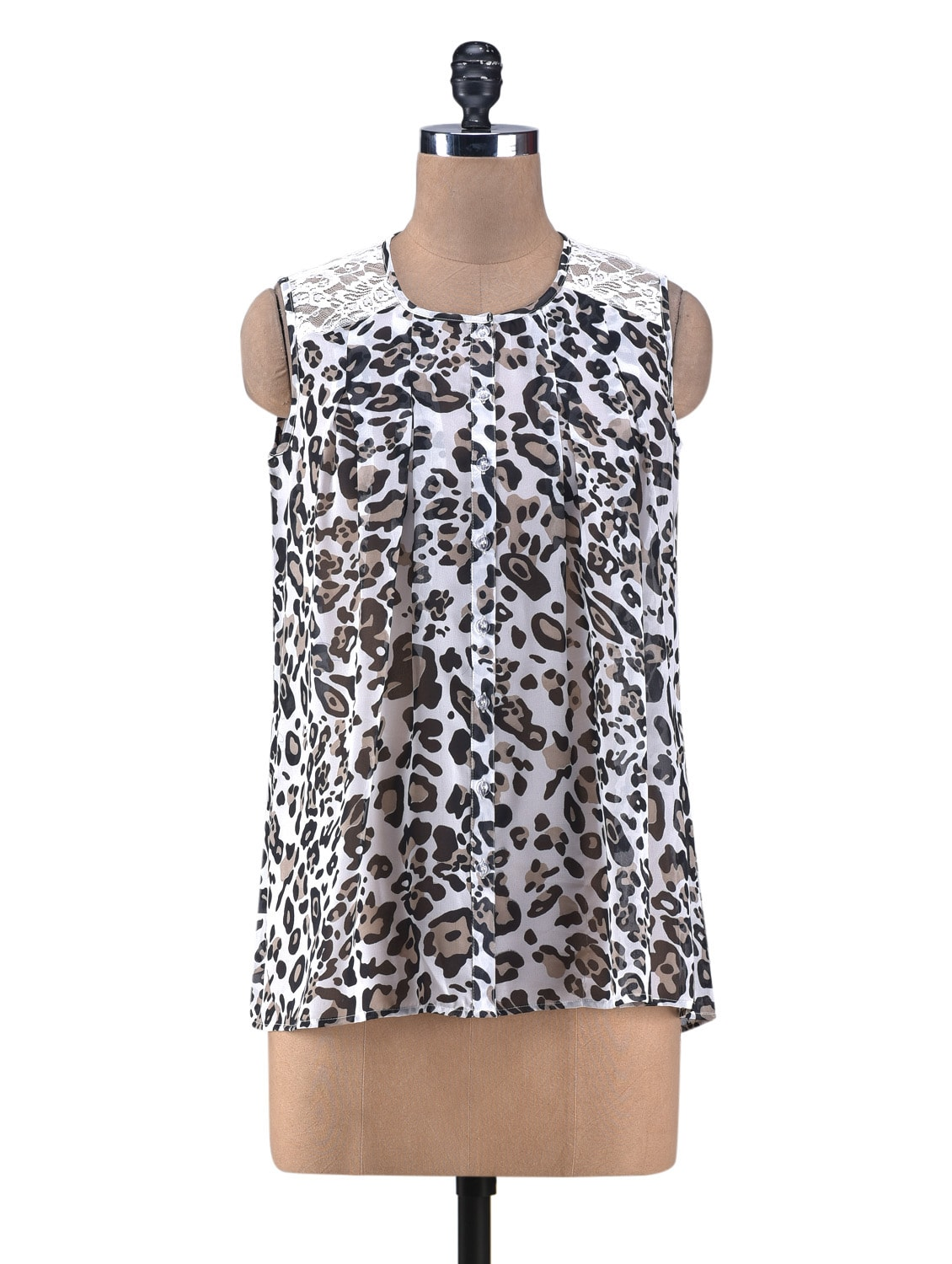 White Printed Gathered Top With Lace Yoke - By