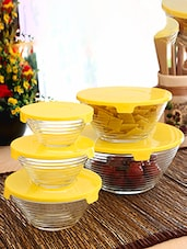 Green Glass Plastic 5 Piece Bowl Set - By