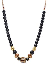 Black Beaded Dori Necklace - By