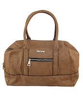 Solid Brown Leatherette Tote Handbag - By