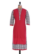 Red Printed Quarter-sleeved Cotton Kurta - By