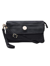 Textured Black Faux Leather Sling Bag - By