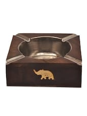 Brown Wooden Plane Elephant Shaped Ashtray - By