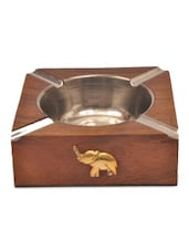 Brown Wooden Trunk Point Ashtray - By