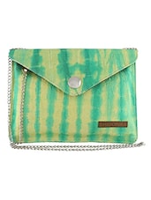 Green And Yellow Printed Cotton Sling Bag - By