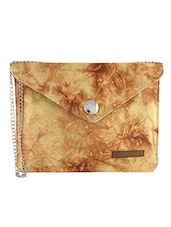 Brown And Yellow Printed Cotton Sling Bag - By