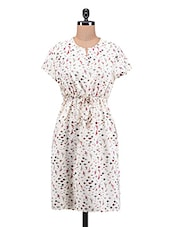 White Printed Poly Crepe Dress - By