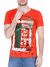 red cotton printed t-shirt -  online shopping for T-Shirts