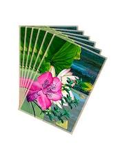 Leaf Designs Green Tones & Pink Summer Floral Table Mats - Set Of 6 - By