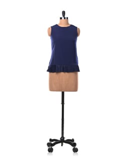 Navy Blue Top With A Pleated Hem - Chemistry