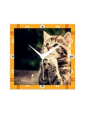 Multicolor Engineered Wood Cool Cat Wall  Clock - By