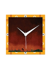 Multicolor Engineered Wood Burns Red Wall Clock - By