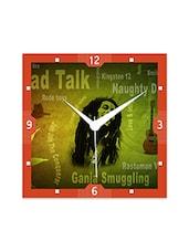 Multicolor Engineered Wood Dread Talk Bob Marley Wall Clock - By