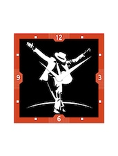 Multicolor Engineered Wood Black And White MJ Wall Clock - By