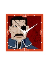 Multicolor Engineered Wood Fighter With Eye Patch Wall Clock - By