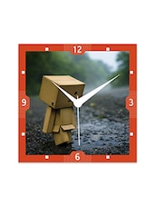Multicolor Engineered Wood Sad Robo In Rain Wall Clock - By