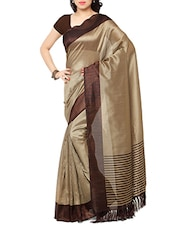 brown silk blend saree with blouse -  online shopping for Sarees