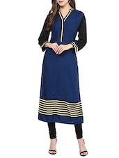 Blue Rayon Printed Long Kurta - By