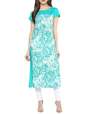 Turquoise Rayon Printed Long Kurta - By