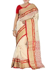 Beige Cotton tant Saree -  online shopping for Sarees
