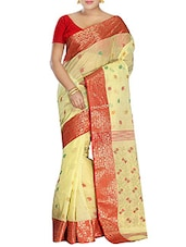 Yellow Cotton tant Saree -  online shopping for Sarees