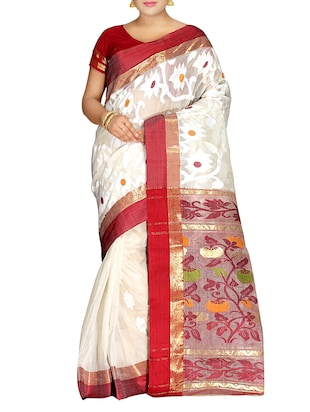 White silk blend tant Saree -  online shopping for Sarees