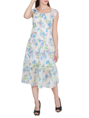white georgette printed dress -  online shopping for Dresses
