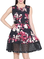 black crepe floral laced a-line dress -  online shopping for Dresses