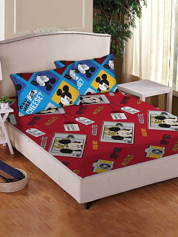 Buy Disney Mickey Mouse Cotton Double Bed Sheet Set By Disney   Online  Shopping For Bedsheets In India   12369883