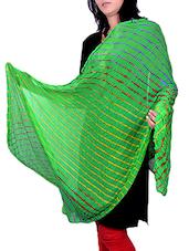 Green Poly Chiffon Leheriya Dupatta - By