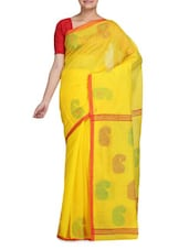 Yellow Tone Art Silk And Viscose Jacquard Saree - By