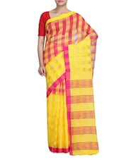 Ari Work  Checks Yellow And Red Saree - By