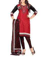 Red Cotton Printed Unstitched Suit Piece - By