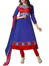 Embroidered Blue Cambric Cotton Semi-Stitched Dress Material - By