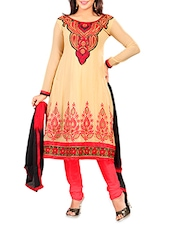 Beige Chiffon Embroidered Unstitched Suit Piece - By
