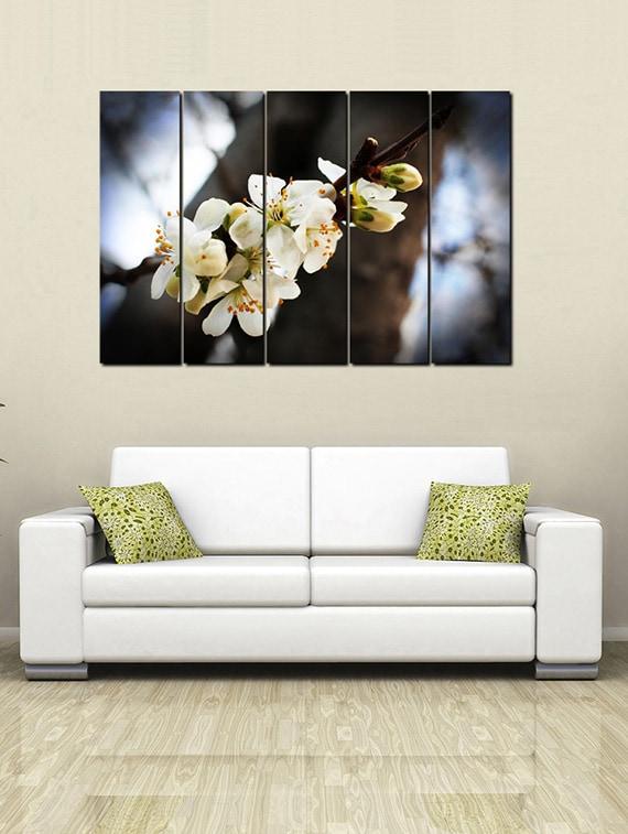 Buy Printed Wooden Multiple Frame Printed White Flowers Art Panels ...