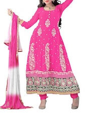 Multicolored Georgette Semi-Stitched Dress Material - By