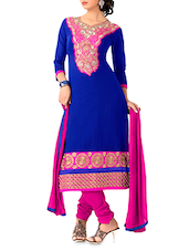 Blue Embroidered Chanderi Cotton Semi Stitched Suit - By