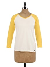 White And Yellow Cotton Full Sleeves Top - By