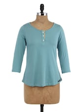 Blue Cotton Round Neck Top - By