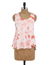 Red And White Cotton Printed Sleeveless Top - By