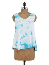 Blue And White Cotton Printed Sleeveless Top - By
