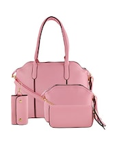 pink leatherette handbag, sling, pouch and key holder (set of 4) -  online shopping for handbags