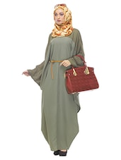 green crepe maxi dress -  online shopping for cloaks & abaya